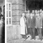 Links: Als Student 1922 Rechts: Kurt Schwabe (3. v. l.) zusammen mit seinem akademischen Lehrer Fritz Förster (1. v. l.) an der Technischen Hochschule Dresden 1922