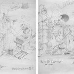 Impressionen aus dem von Kurt- Schwabe geleiteten Institut für die Chemische Technologie der Zellstoff- und Papiererzeugung der Technischen Hochschule Dresden am Standort Meinsberg (Zeichnungen von Kurt Schwabe, 1944)